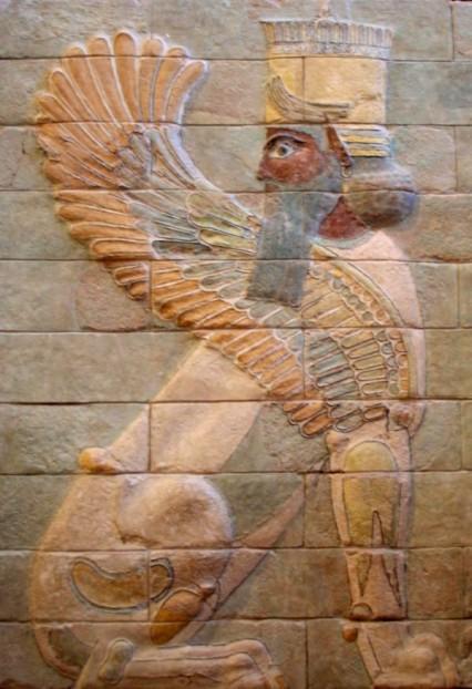 Einer der beiden Beschützer des geflügelten Rings (Palast von Dareios I. in Susa)
