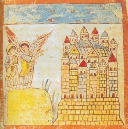 Die Stadt aus dem Himmel ist in der ältesten erhaltenen Apokalypsenhandschrift (Trierer Apokalypse) mehr hoch als breit und hat die Umrisse einer Weltraumrakete.